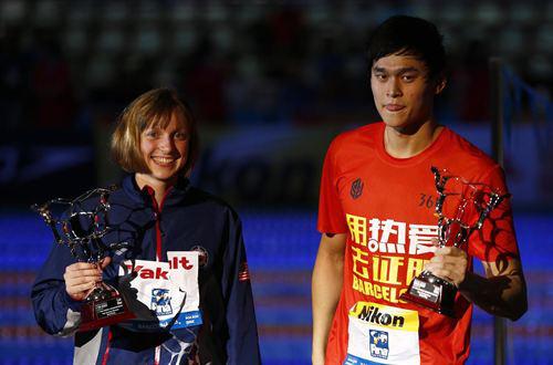 Katie Ledecky y Sun Yang.