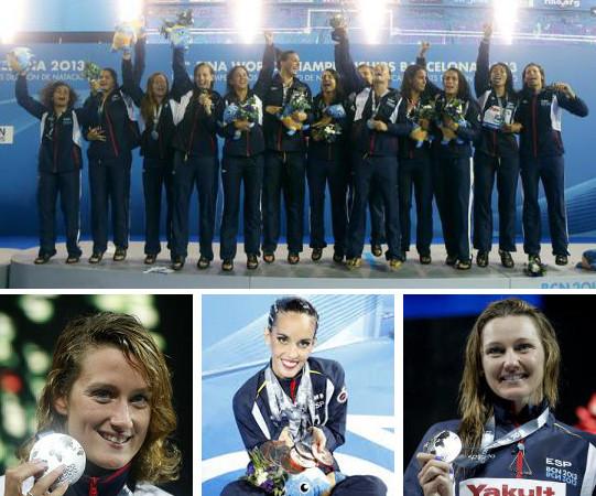 La selección femenina de waterpolo, Belmonte, Carbonell y Costa.