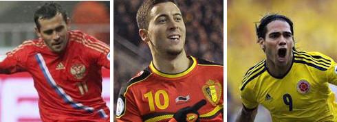 Kerzhakov (Rusia), Hazard (Bélgica) y Falcao (Colombia).