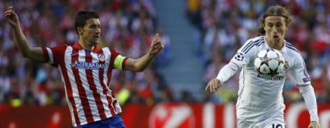 Gabi (Atlético) y Modric (Real Madrid), durante la final de Lisboa.