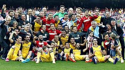 Los jugadores del Atlético, celebrando el título de Liga.