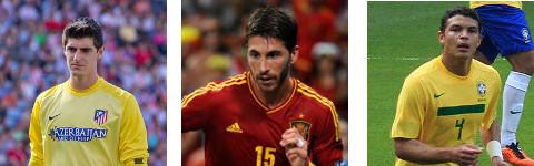 Courtois (Bélgica), Sergio Ramos (España) y Thiago Silva (Brasil)