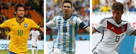 Neymar (Brasil), Messi (Argentina) y Müller (Alemania)