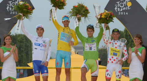 Los ganadores de los distintos maillots del Tour de Francia 2014.