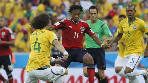 Imagen del partido Brasil-Colombia. FOTO:ole.com.ar