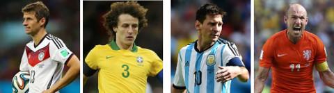 Müller (Alemania), David Luiz (Brasil), Messi (Argentina) y Robben (Holanda).