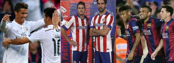Real Madrid y FC Barcelona intentarán bajar del trono liguero al Atlético de Madrid.