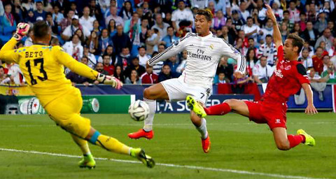 Momento del primer gol de Cristiano Ronaldo.