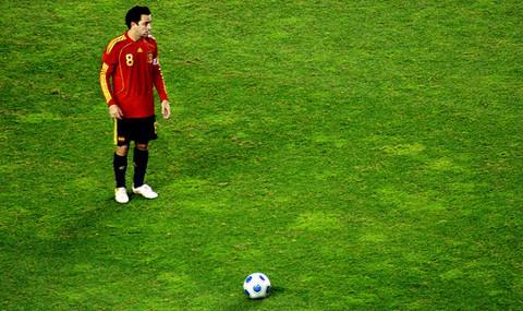 Xavi, durante un partido