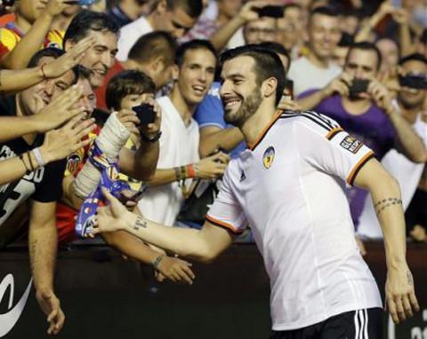 Negredo, durante su presentación con el Valencia.
