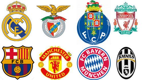 Escudos de ocho de los equipos más importantes de Europa