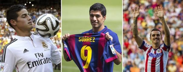 Los tres fichajes más caros de este verano: James (izq.), Luis Suárez (centro) y Griezmann (drcha.)