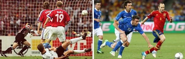 Imágenes de las finales de las Eurocopas de 1996 (izq.) y 2012 (drcha.)