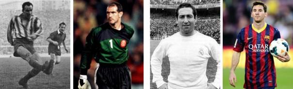Zarra, Zubizarreta, Gento y Messi, cuatro futbolistas poseedores de récords en la Liga española.
