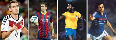 Klose, Messi, Pelé y Platini.
