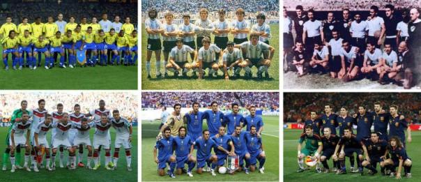 Onces o plantillas de Brasil, Argentina, Uruguay, Alemania, Italia y España en finales mundialistas.