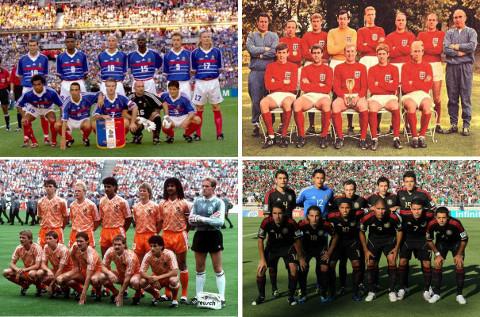 Alineaciones campeonas de Francia, Inglaterra, Holanda y México.