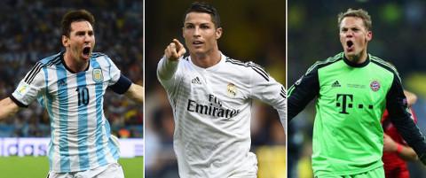 Messi, Cristiano Ronaldo y Neuer son los aspirantes al 'FIFA Balón de Oro 2014'.
