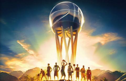 Imagen del trofeo y de jugadores de los ocho participantes en la Copa del Rey de baloncesto 2015