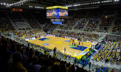 El Gran Canaria Arena, pabellón sede de la Copa del Rey 2015.