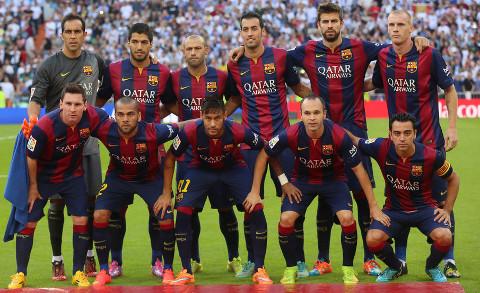 Un once del Barcelona de la presente temporada.