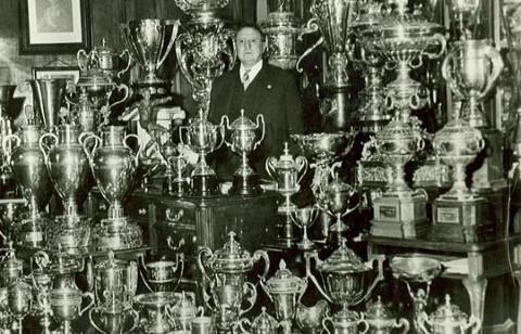 Santiago Bernábeu, el presidente más laureado del fútbol español.