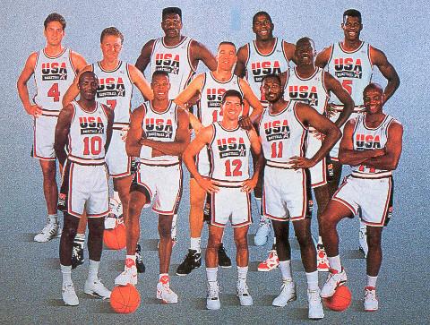 La selección de baloncesto de EE.UU que acudió a los JJ.OO de Barcelona 92.