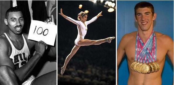 Wilt Chamberlain (izq.), Nadia Comaneci (centro) y Michael Phelps (dcha.)