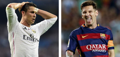 Cristiano Ronaldo (izq.) y Leo Messi (drcha.)