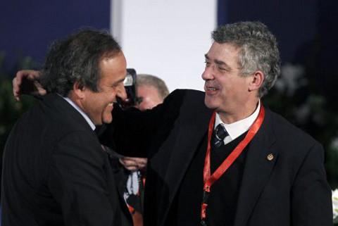 Platini (izquierda) y Villar (derecha)